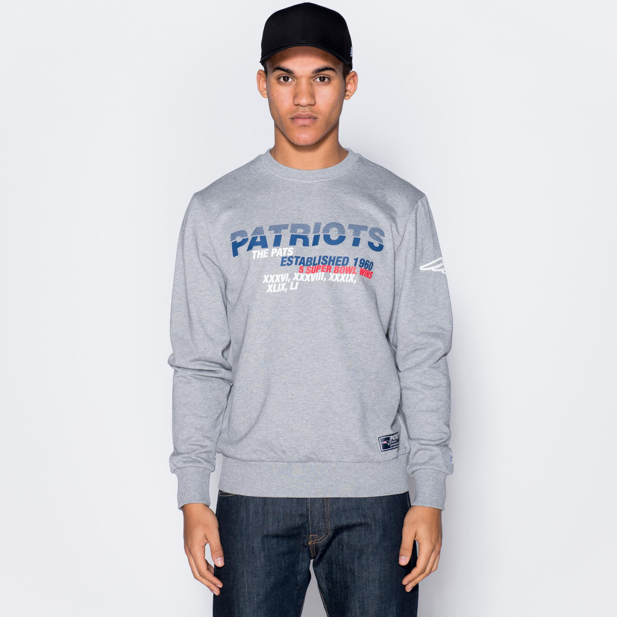 Felpa girocollo New England Patriots Slogan Grey