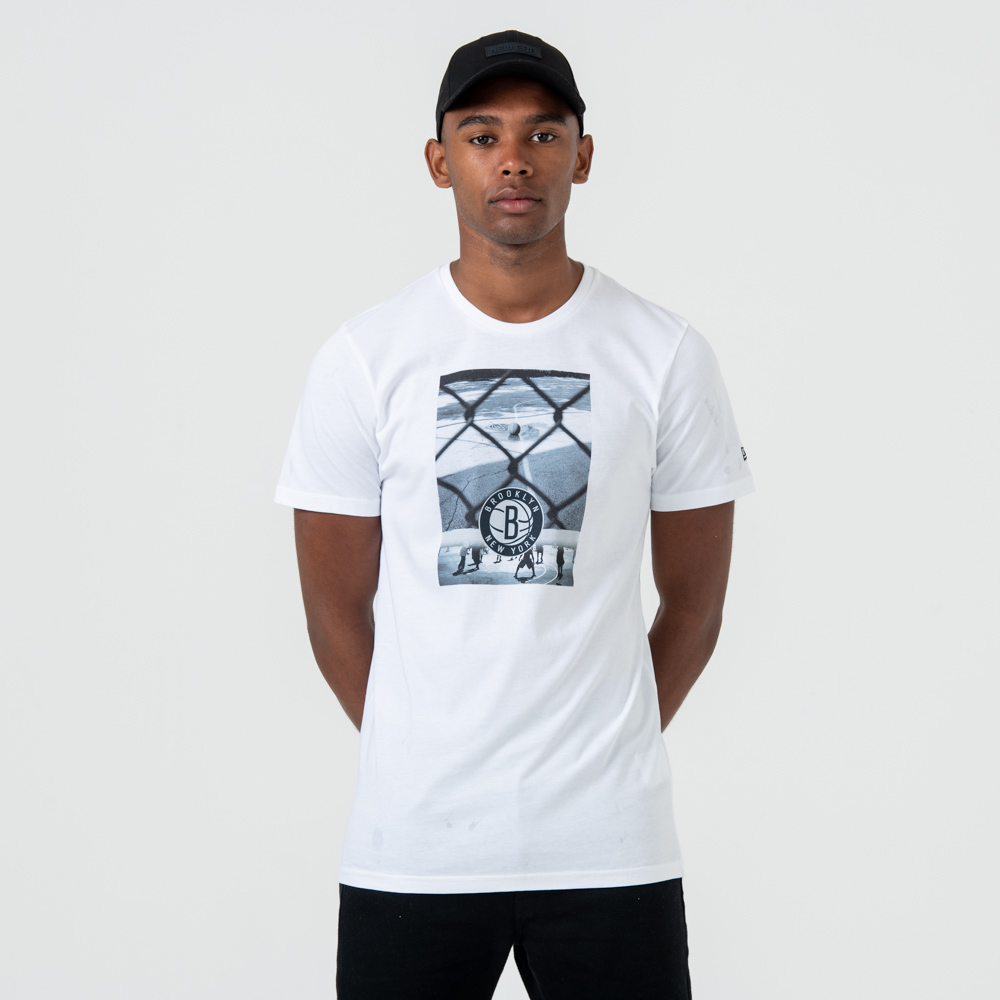 Brooklyn Nets – T-Shirt mit Grafikprint – Weiß