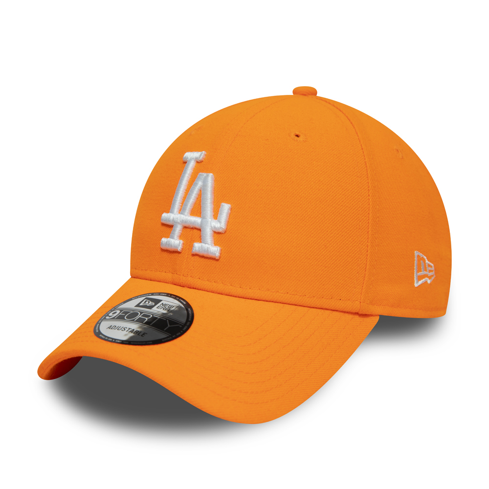 Gorra Los Angeles Dodgers White  Logo 9FORTY, naranja neón