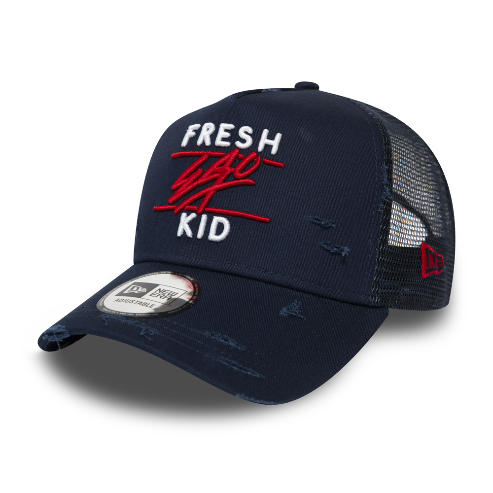 Fresh Ego Kid Trucker-Kappe mit A-Frame in Marineblau