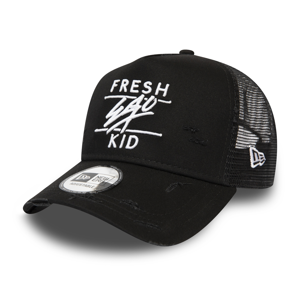 Fresh Ego Kid Trucker-Kappe mit A-Frame in Schwarz