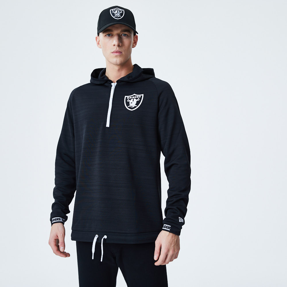 Oakland Raiders Logo Black Engineered Half Zip Hoodie