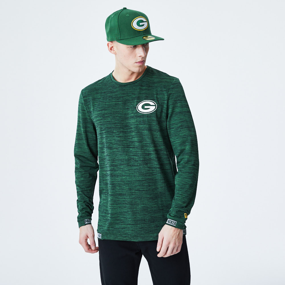 Green Bay Packers Logo Engineered Green Long Sleeve Tee