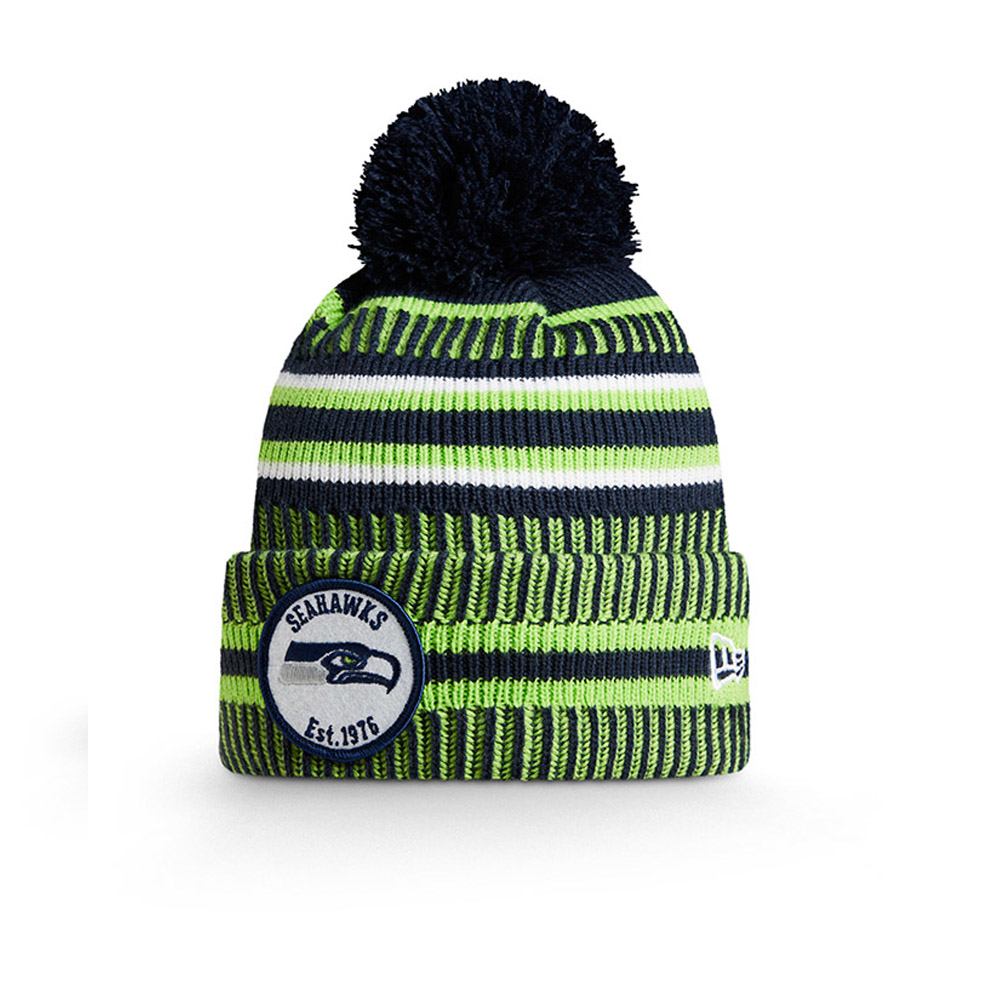 Bonnet Seattle Seahawks bleu en maille on field home