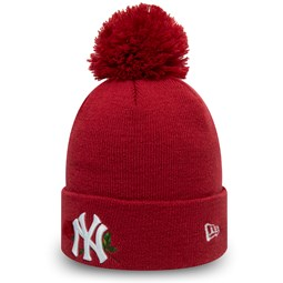 New York Yankees Womens Twine Red Bobble Knit