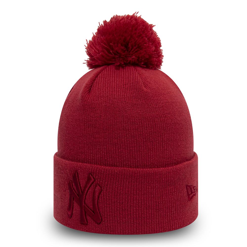 Gorro de punto con pompón New York Yankeespara mujer, rojo