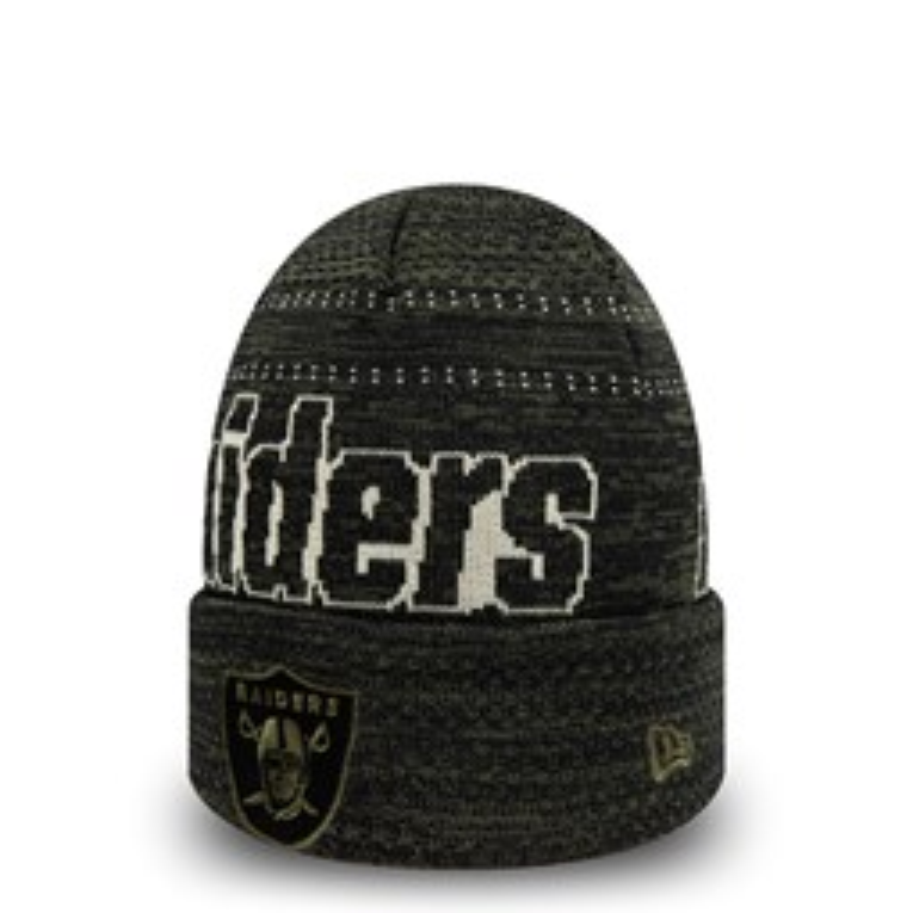 Berretto di maglia con risvolto Engineered Fit Oakland Raiders nero