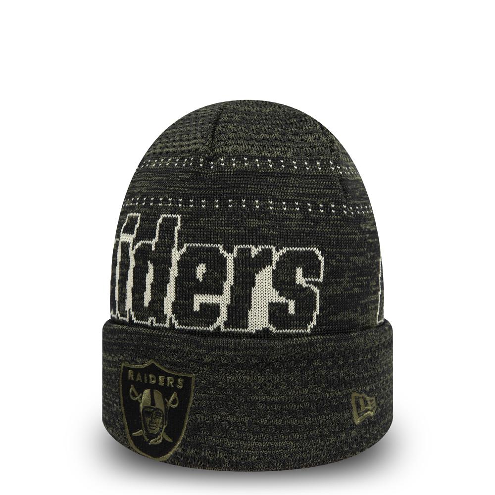Gorro de punto con vuelta Oakland Raiders Engineered Fit, negro