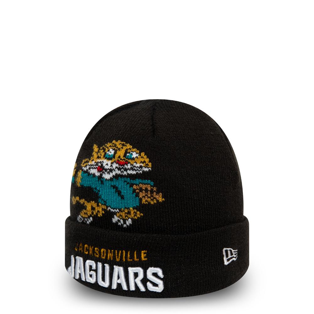 Gorro de punto con vuelta Jacksonville Jaguars Mascot, niño, negro