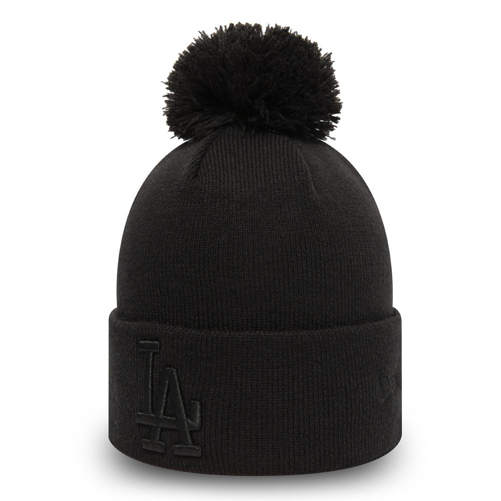Bonnet à pompon noir des Dodgers de Los Angeles pour femmes