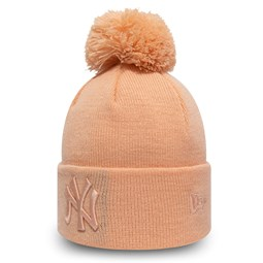 Gorro de punto con pompón New York Yankees Essential niño, rosado