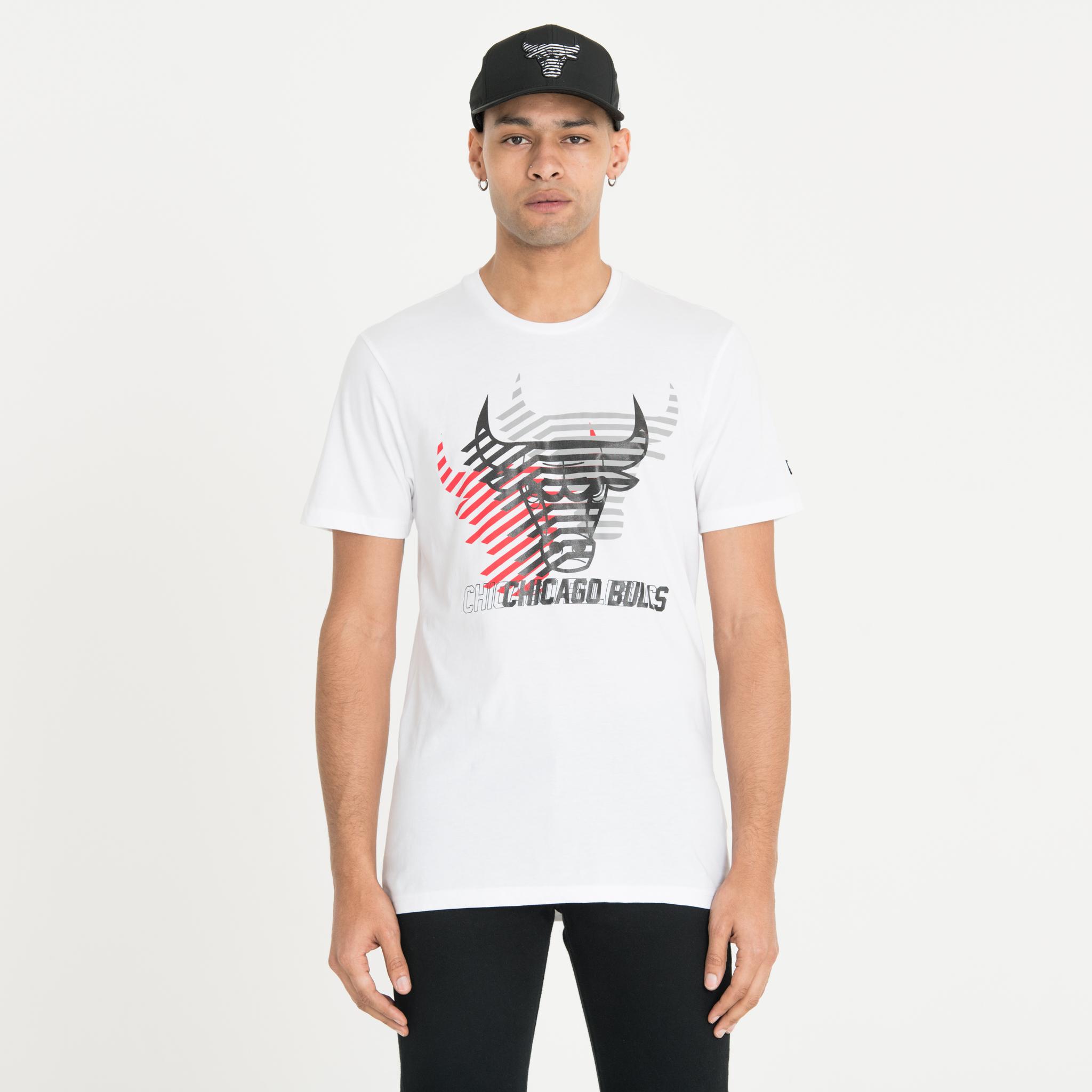 Chicago Bulls – Weißes T-Shirt mit sich wiederholendem Logo