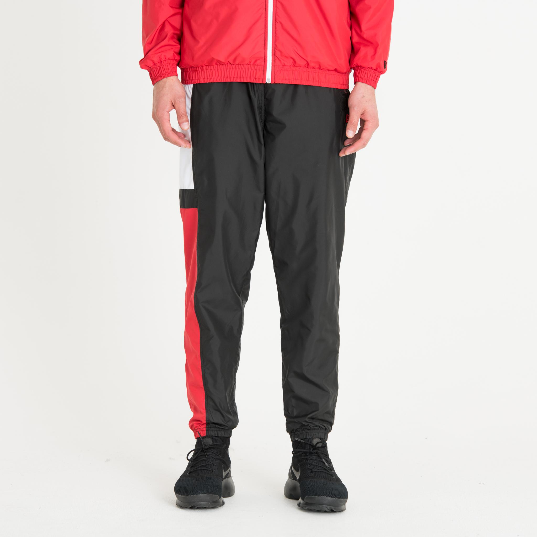 Pantalon de survêtement colour block noir, blanc et rouge New Era