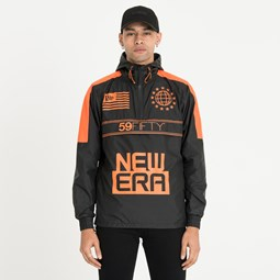 New Era Orange Graphic Windbreaker Jacket