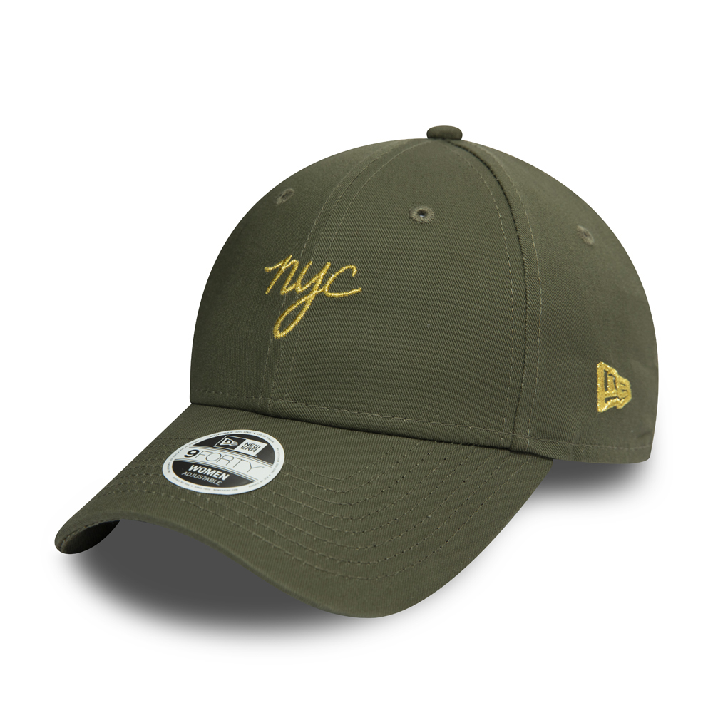 New Era Womens NYC Script Green 9FORTY Cap