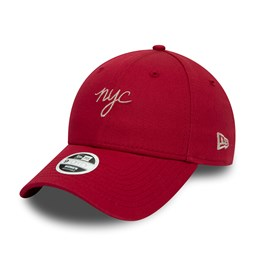 New Era Womens NYC Script Red 9FORTY Cap