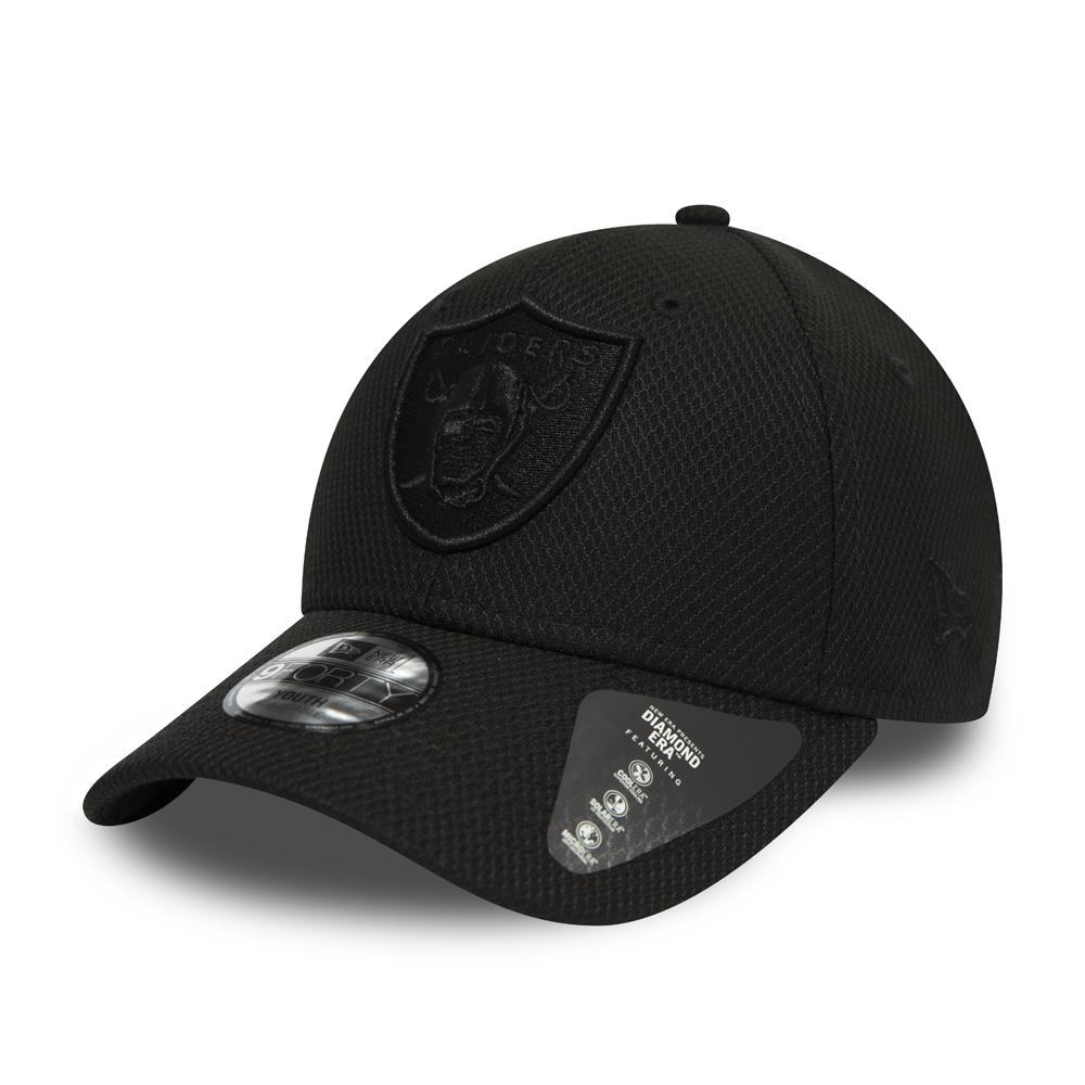 Gorra Oakland Raiders 9FORTY negro monocromático para niños