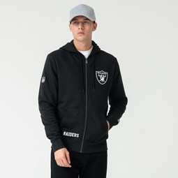 Sweat à capuche zippé noir Oakland Raiders