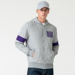Sweat à capuche zippé gris des Lakers de Los Angeles