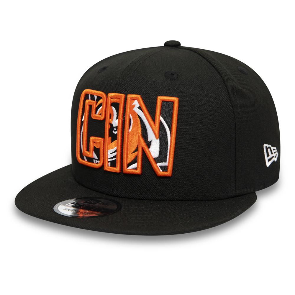Schwarze 9FIFTY-Kappe mit Typografie-Logo der Cincinnati Bengals