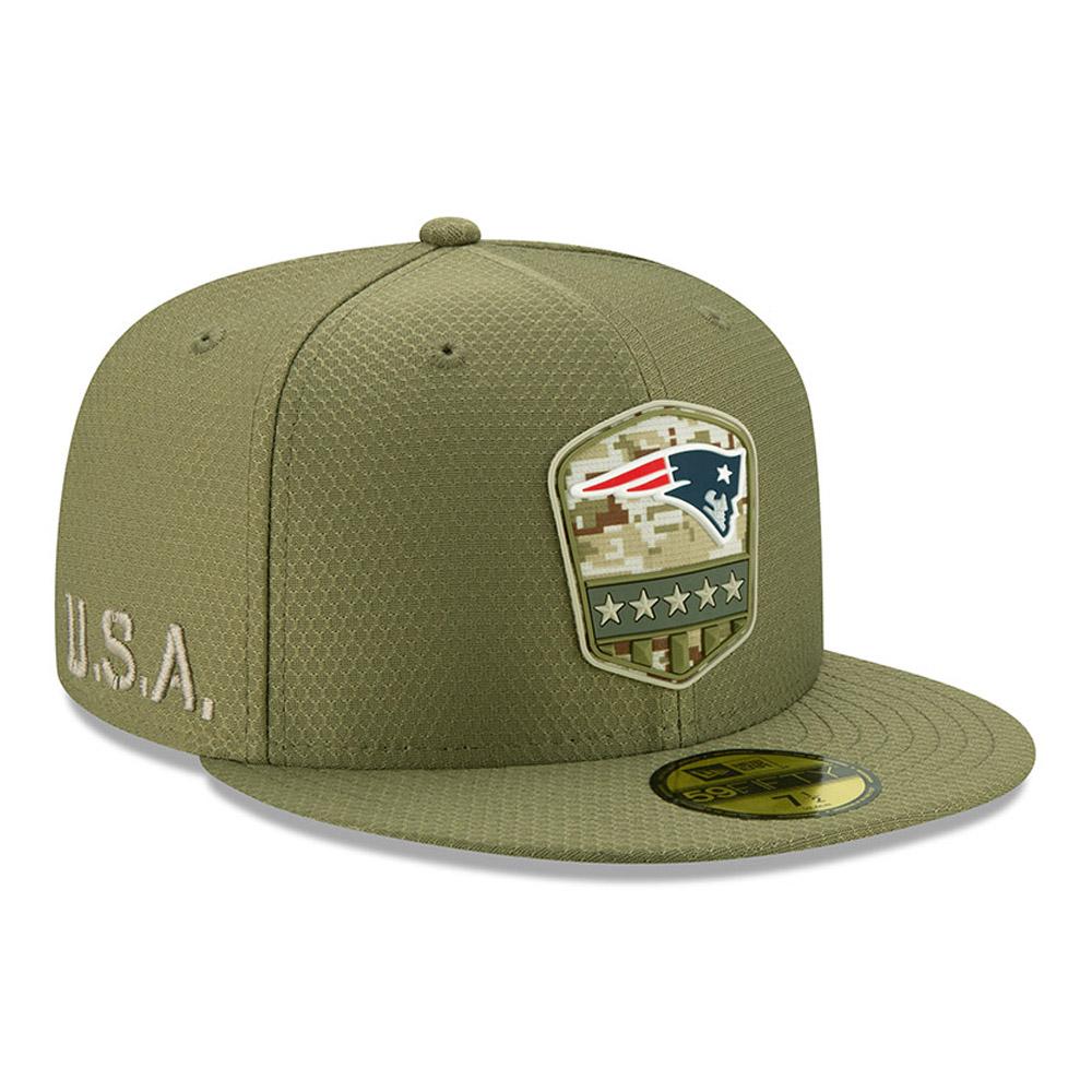 "Grüne ""Salute to Service"" 59FIFTY-Kappe der New England Patriots"