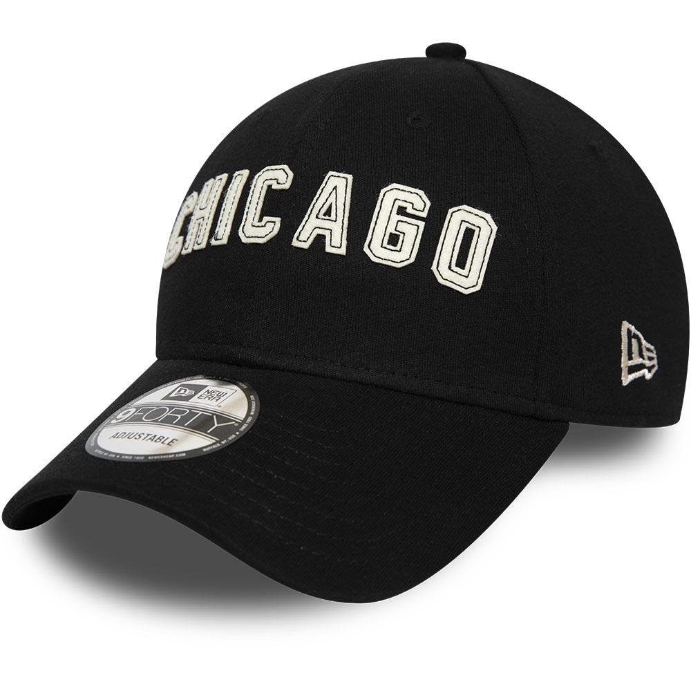Schwarze 9FORTY-Kappe der Chicago Bulls mit Filz-Schriftzug