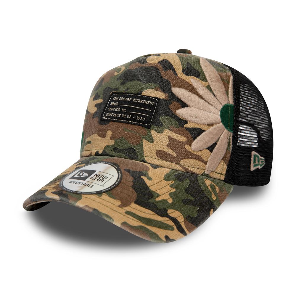 NEW ERA – Trucker-Kappe mit grauem Camouflage-Design – Military Flower