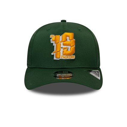 Green Bay Packers Number Stretch Green 9FIFTY Cap