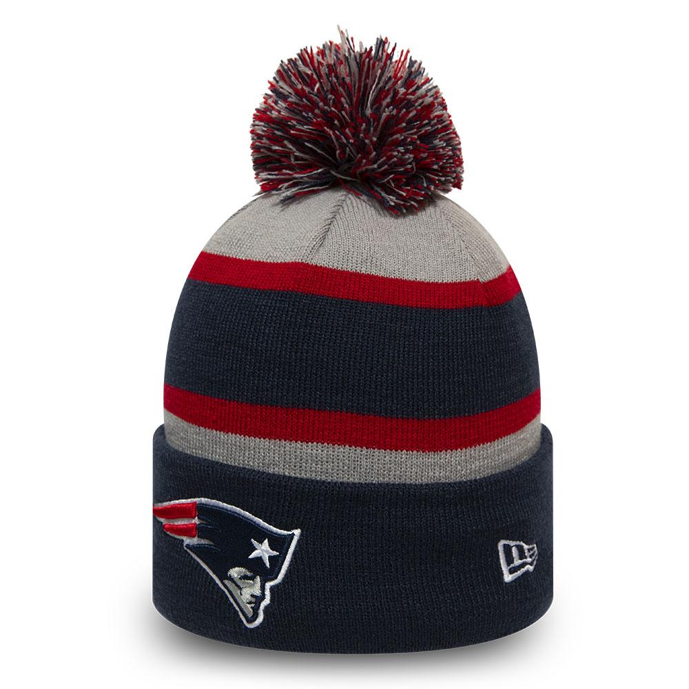 Gestreifte Kinder-Beanie mit Bommel – New England Patriots