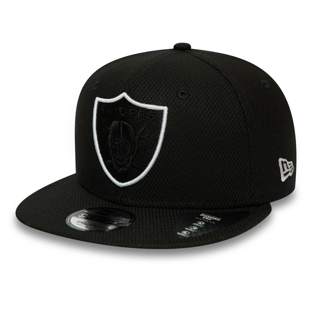 Casquette 9FIFTY Outline noire avec languette de réglage crantée des Raiders d'Oakland