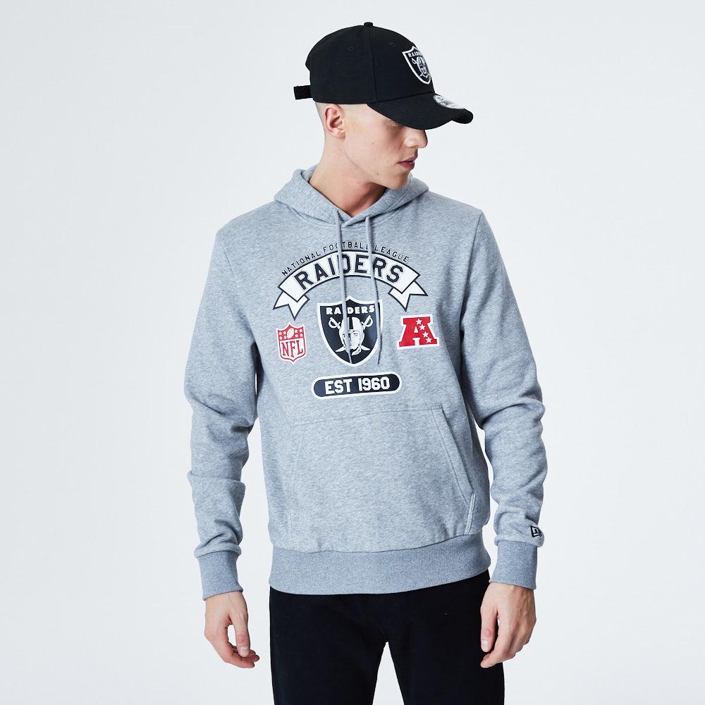 Sweat à capuche gris imprimé Oakland Raiders