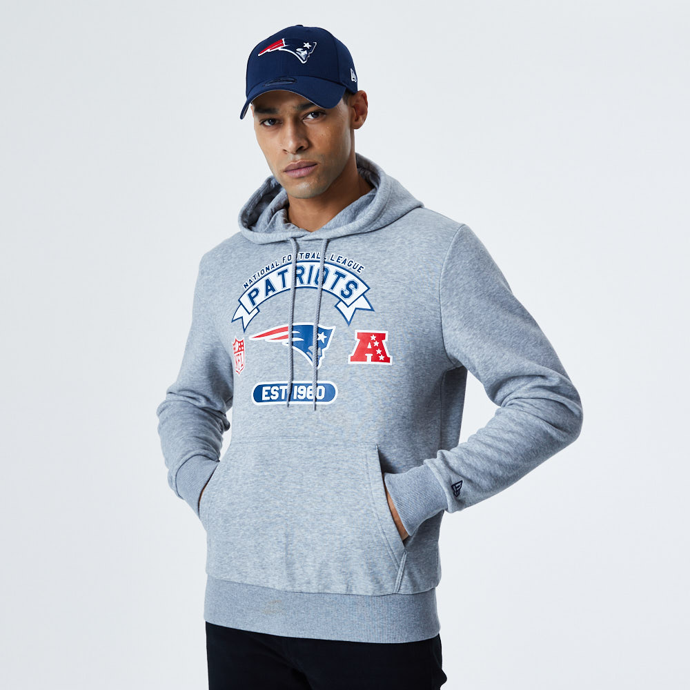 Sweat à capuche gris imprimé New England Patriots