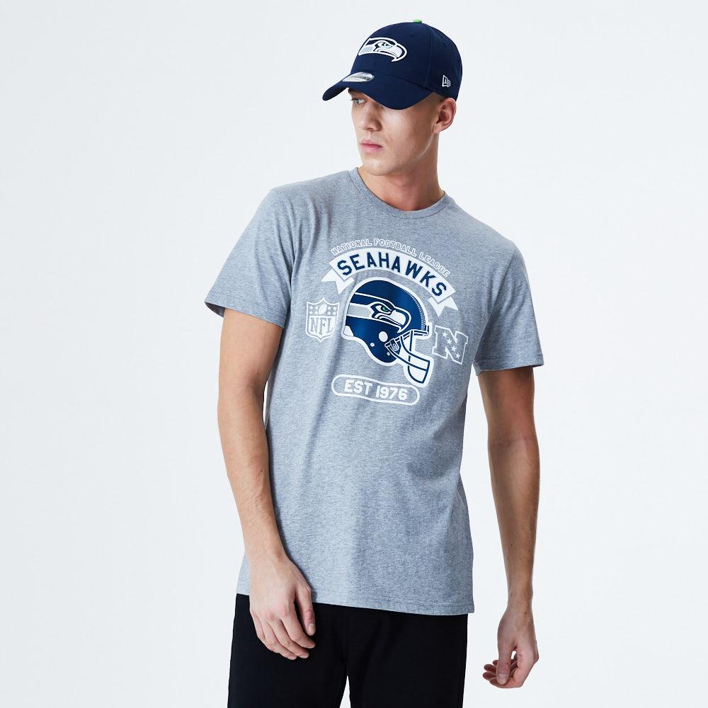 T-shirt gris avec graphique casque des Seahawks de Seattle
