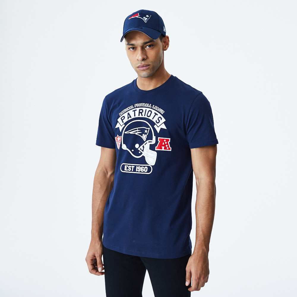 T-shirt bleu marine casque New England Patriots