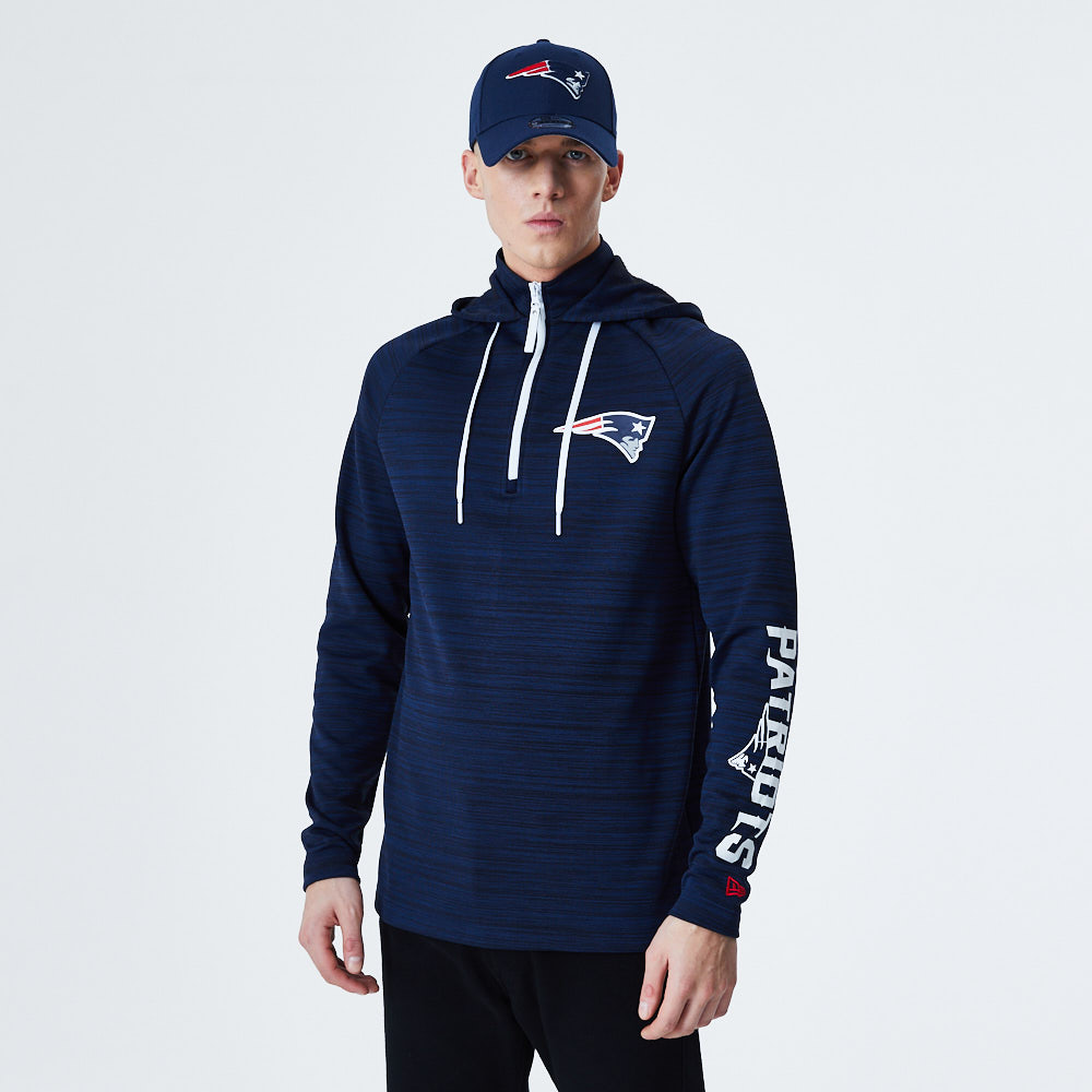 Sweat à capuche bleu technique à col montant New England Patriots