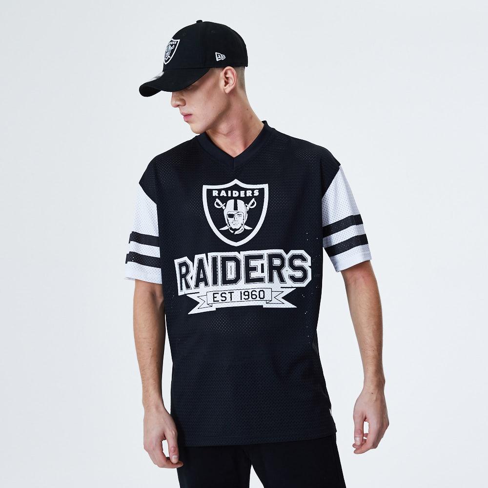T-shirt noir surdimensionné manches contrastantes Oakland Raiders