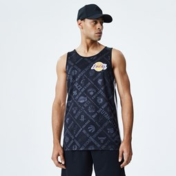 Los Angeles Lakers All Over Print Black Vest