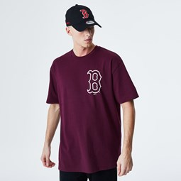 T-shirt rouge surdimensionné gros logo Boston Red Sox