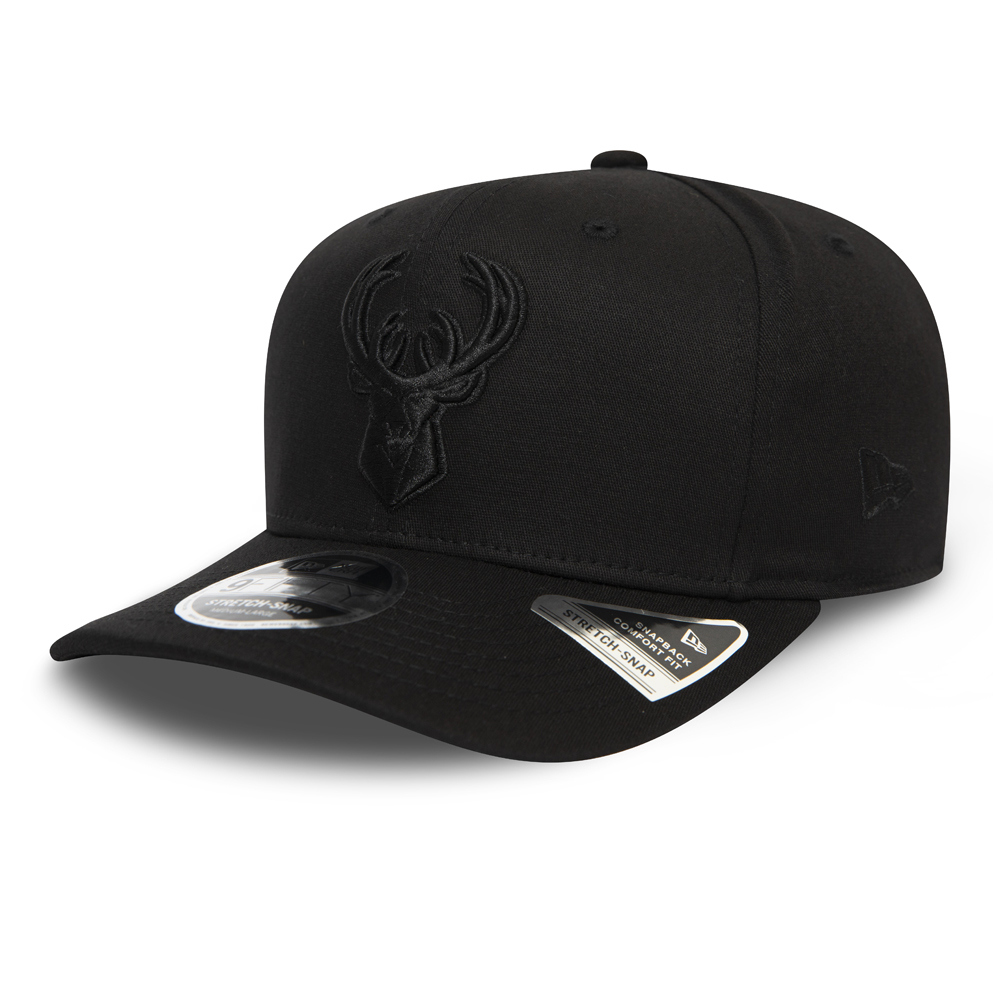 Milwaukee Bucks Tonal Black Stretch Snap 9FIFTY Cap