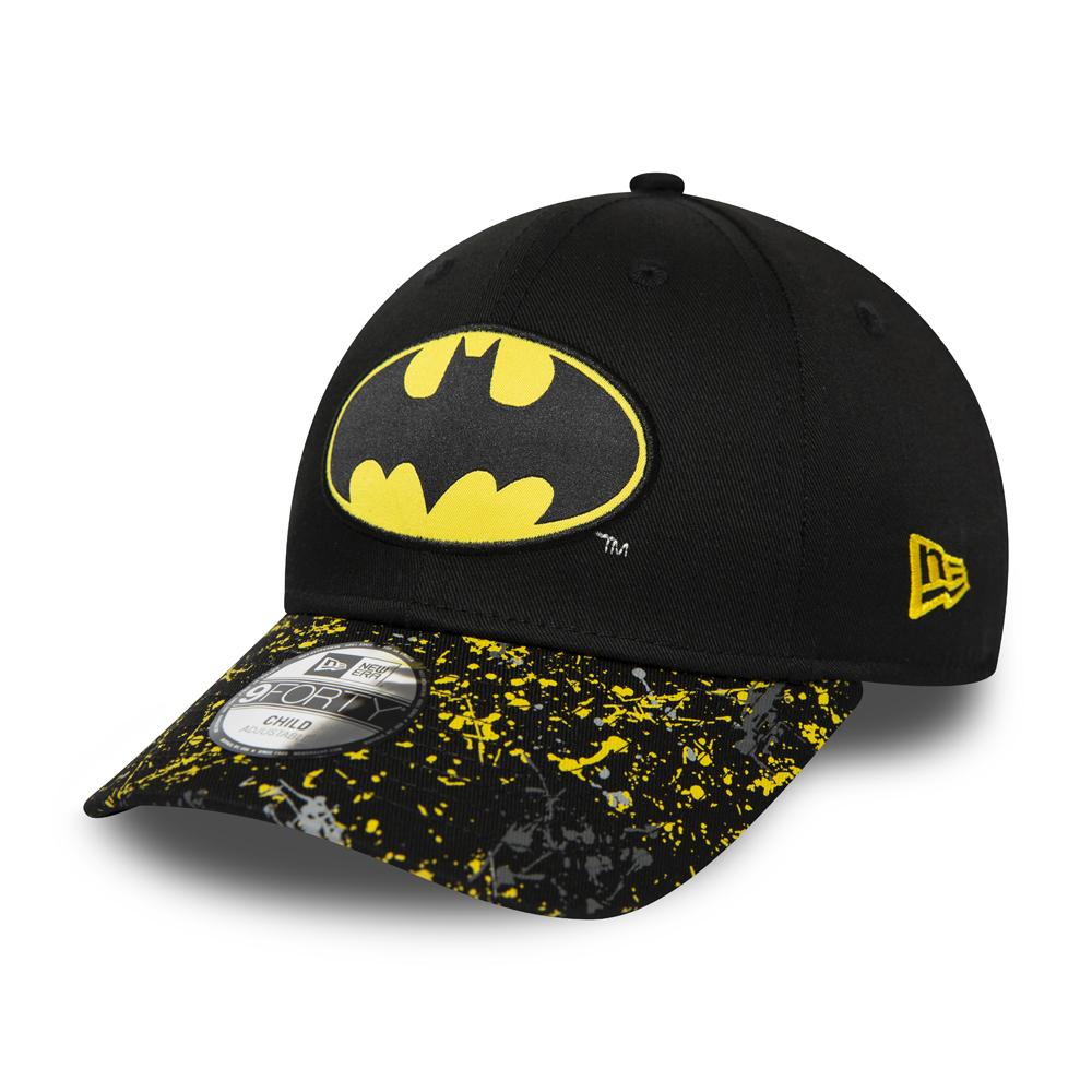 Casquette noire 9FORTY New Era Batman Splatter à visière pour enfant