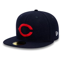 "Cleveland Indians – Marineblaue 59FIFTY-Kappe ""Cooperstown"" in Flanell"