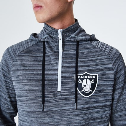 Oakland Raiders Engineered Half Zip Grey Hoodie