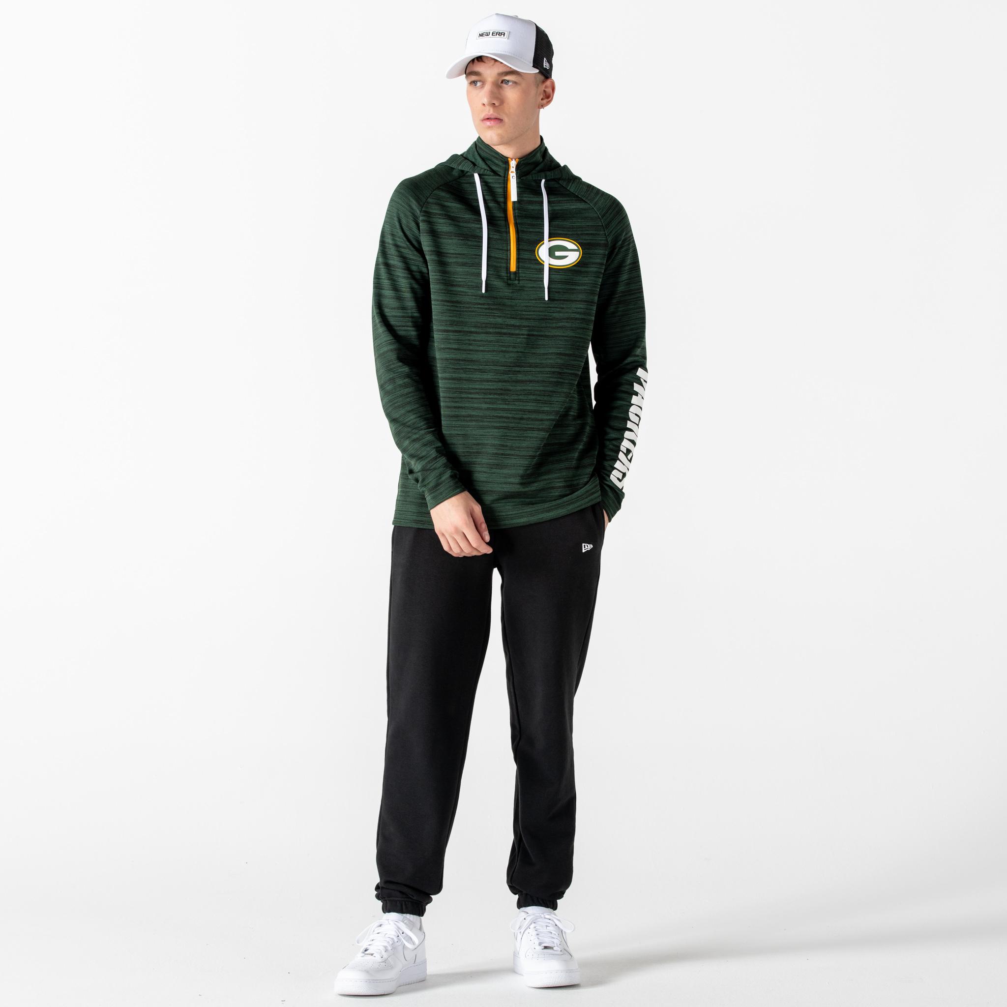 Felpa con cappuccio e mezza zip Engineered dei Green Bay Packers verde