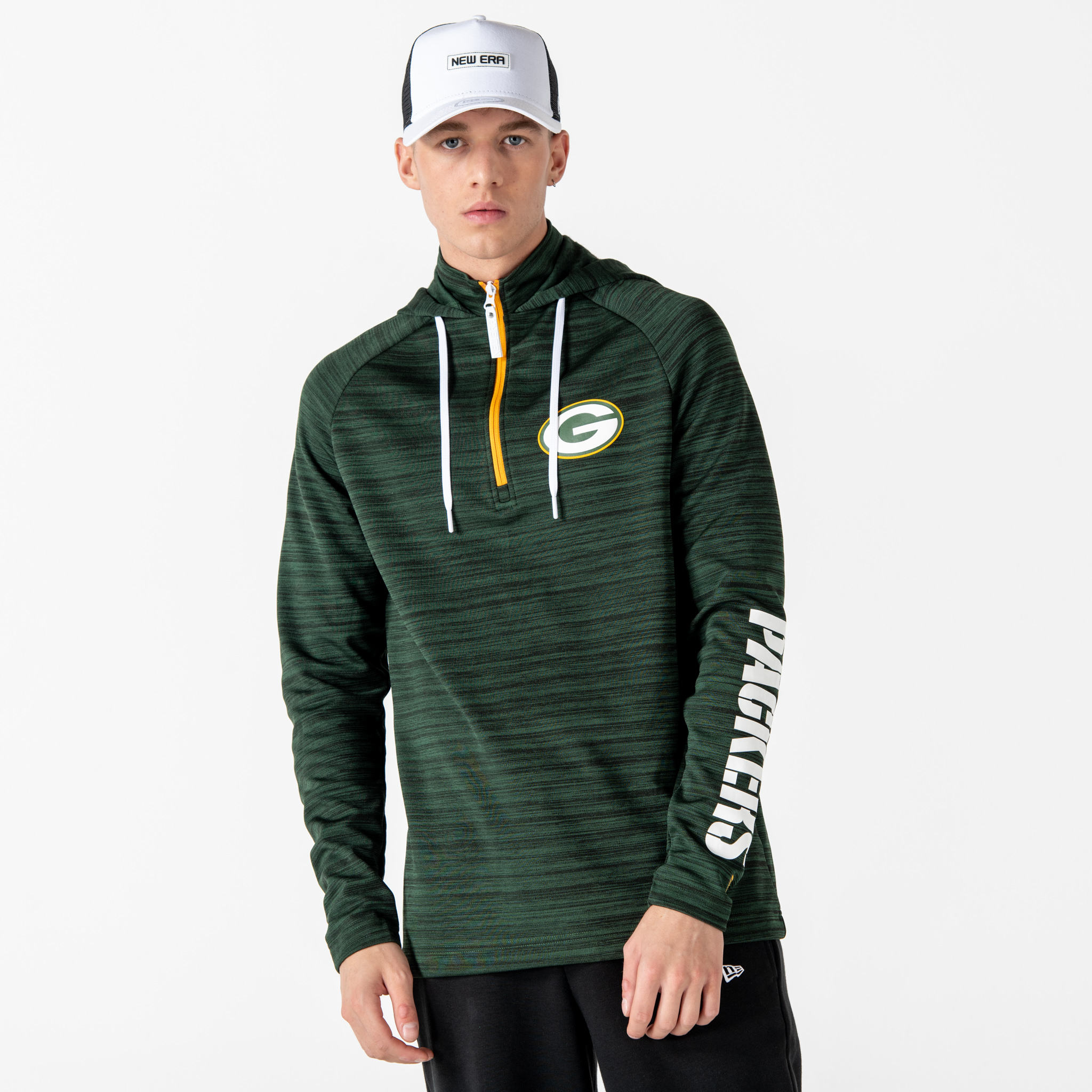 Green Bay Packers Engineered Half Zip Green Hoodie