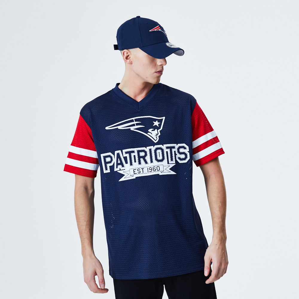 New England Patriots Contrast Sleeve Oversized Blue T-Shirt