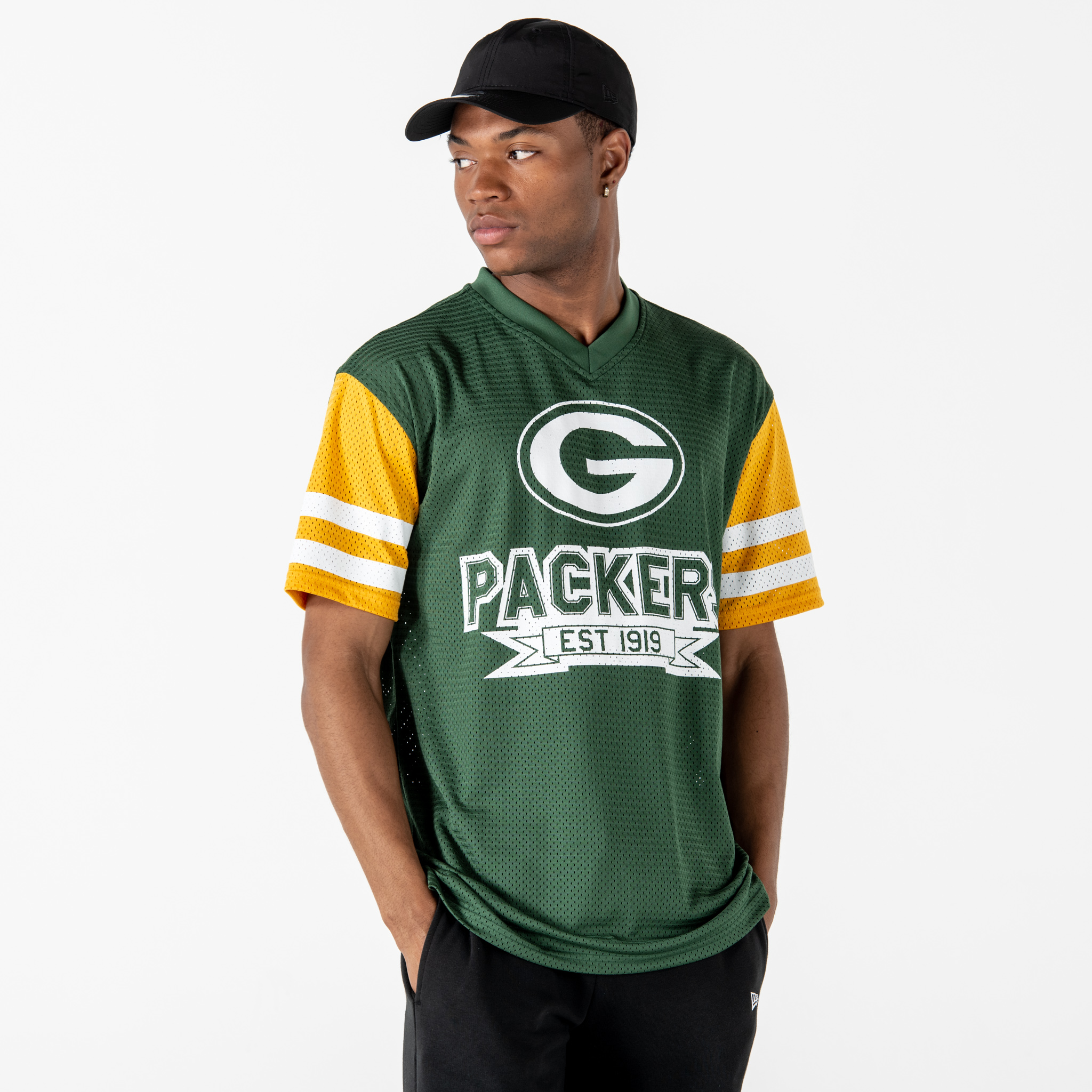 Green Bay Packers Contrast Sleeve Oversized Green T-Shirt
