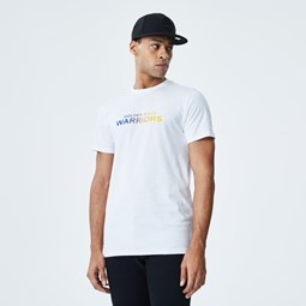 T-shirt blanc avec inscription gradient des Warriors de Golden State