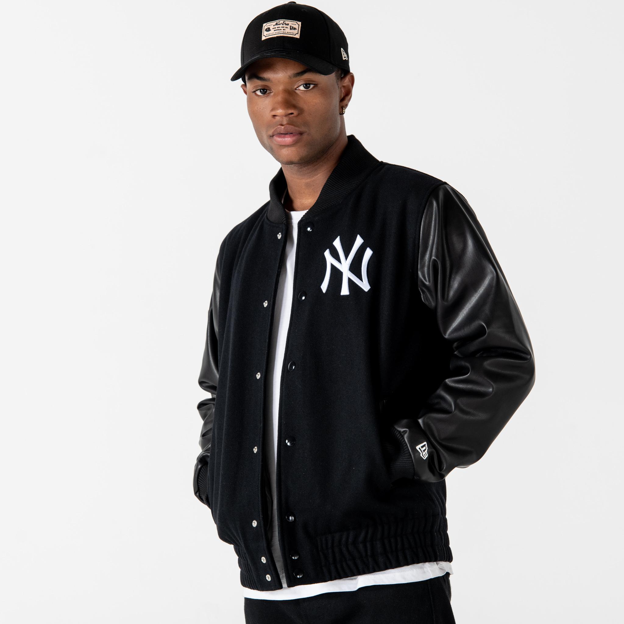 Chaqueta varsity New York Yankees Heritage, negro
