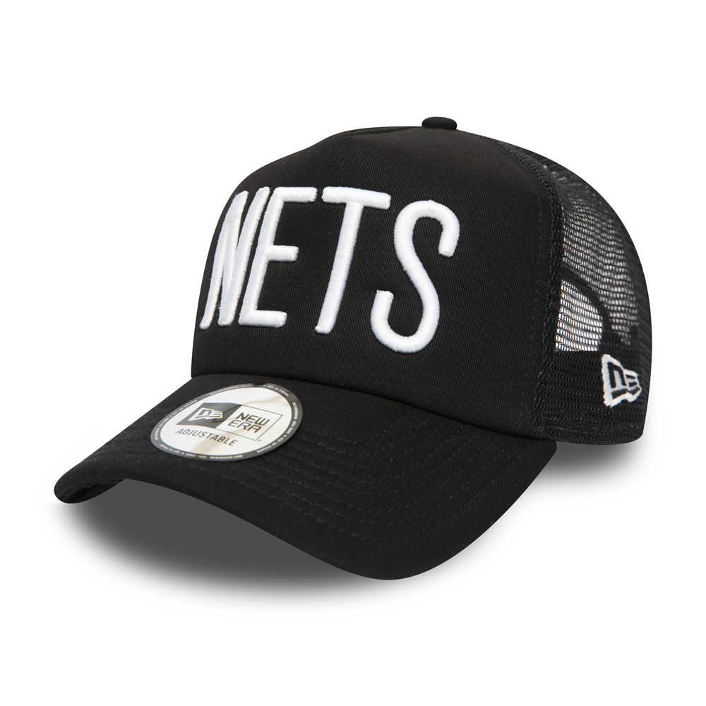 Brooklyn Nets Black A-Frame Trucker