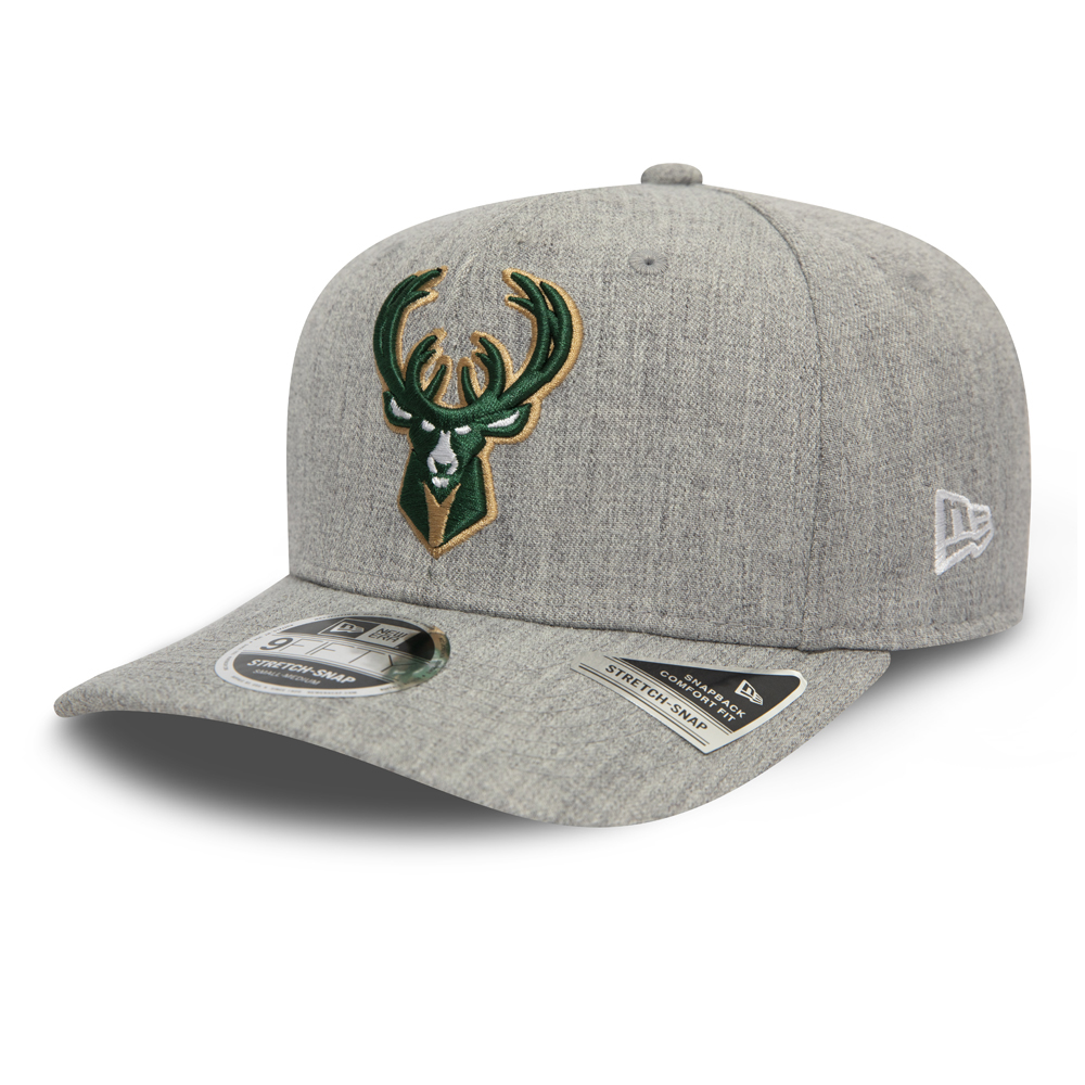 Milwaukee Bucks Heather Base Grey Stretch Snap 9FIFTY Cap